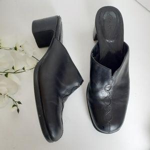 Clarks Black Leather Mules Clogs Shoes Sz 8